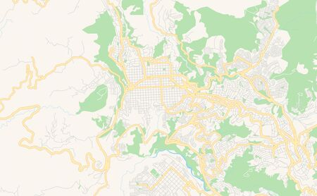 Printable street map of Manizales, Colombia. Map template for business use.