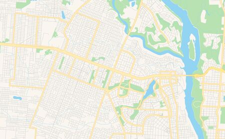 Printable street map of Ciudad del Este, Paraguay. Map template for business use.