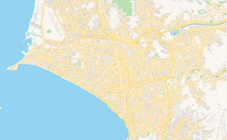 Printable street map of Lima, Peru. Map template for business use. Vettoriali