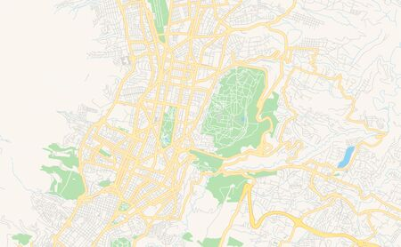 Printable street map of  Quito, Ecuador. Map template for business use.