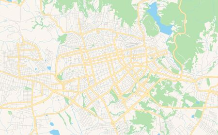 Printable street map of  Santa Maria, Brazil. Map template for business use.