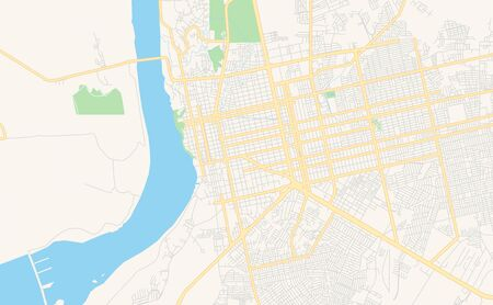 Printable street map of  Porto Velho, Brazil. Map template for business use. 矢量图像