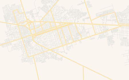 Druckbare Straßenkarte von El Tigre, Venezuela. Kartenvorlage für geschäftliche Zwecke. Vektorgrafik