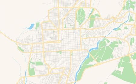 Printable street map of  San Fernando del Valle de Catamarca, Argentina. Map template for business use.