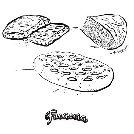 Focaccia food sketch separated on white. Vector drawing of Yeast bread, usually known in Italy. Food illustration series. 일러스트