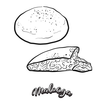 Malooga food sketch separated on white. Vector drawing of Flatbread, usually known in Yemen. Food illustration series. Ilustração