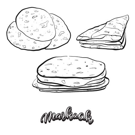 Markook food sketch separated on white. Vector drawing of Flatbread, Saj bread, usually known in Levant. Food illustration series.