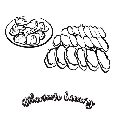 Khanom bueang food sketch separated on white. Vector drawing of Flatbread, Crispy, usually known in Thailand, Cambodia. Food illustration series.  イラスト・ベクター素材
