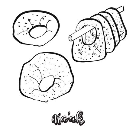 Kaak food sketch separated on white. Vector drawing of Leavened, usually known in Near East. Food illustration series. Illustration