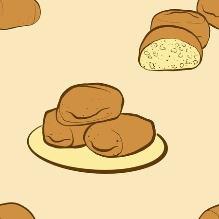 Seamless pattern of sketched Mantou bread. Useable for wallpaper or any sized decoration. Handdrawn Vector Illustration