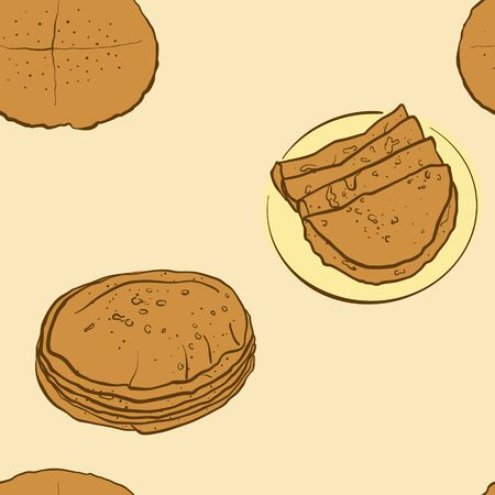 Seamless pattern of sketched Flatbread bread. Useable for wallpaper or any sized decoration. Handdrawn Vector Illustration