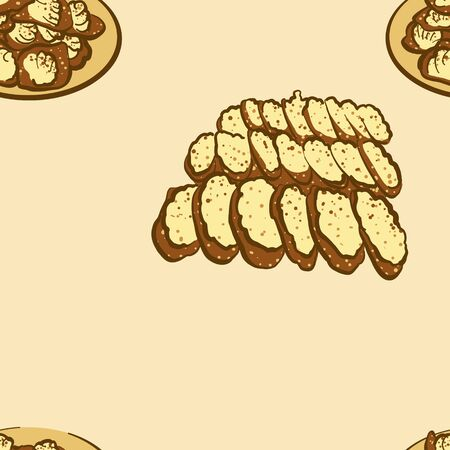 Seamless pattern of sketched Khanom bueang bread. Useable for wallpaper or any sized decoration. Handdrawn Vector Illustration