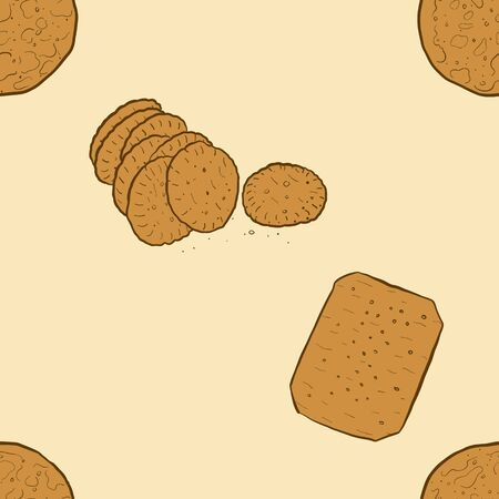 Seamless pattern of sketched Cracker bread. Useable for wallpaper or any sized decoration. Handdrawn Vector Illustration