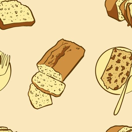Seamless pattern of sketched Carrot bread bread. Useable for wallpaper or any sized decoration. Handdrawn Vector Illustration Vettoriali