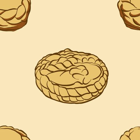 Seamless pattern of sketched Cesnika bread. Useable for wallpaper or any sized decoration. Handdrawn Vector Illustration Ilustração