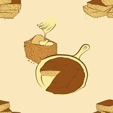 Seamless pattern of sketched Cornbread bread. Useable for wallpaper or any sized decoration. Handdrawn Vector Illustration Ilustração