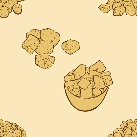 Seamless pattern of sketched Croutons bread. Useable for wallpaper or any sized decoration. Handdrawn Vector Illustration Vettoriali