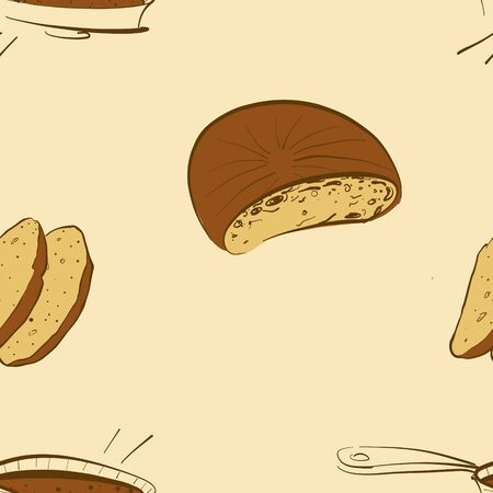 Seamless pattern of sketched Bannock bread. Useable for wallpaper or any sized decoration. Handdrawn Vector Illustration