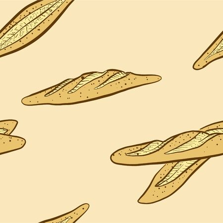 Seamless pattern of sketched Bastone bread. Useable for wallpaper or any sized decoration. Handdrawn Vector Illustration Illustration
