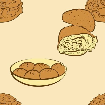 Seamless pattern of sketched Curry bread bread. Useable for wallpaper or any sized decoration. Handdrawn Vector Illustration Ilustração