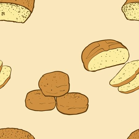 Seamless pattern of sketched Chickpea bread bread. Useable for wallpaper or any sized decoration. Handdrawn Vector Illustration