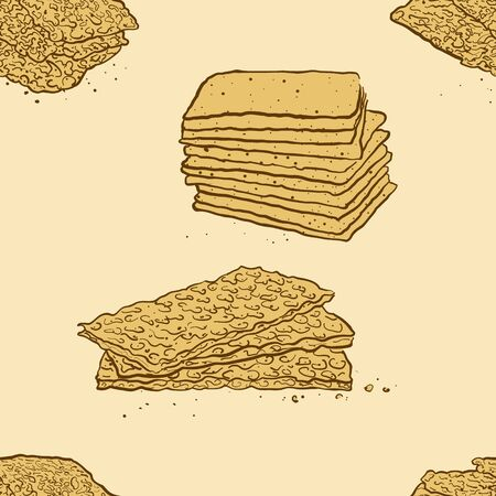 Seamless pattern of sketched Crisp bread bread. Useable for wallpaper or any sized decoration. Handdrawn Vector Illustration