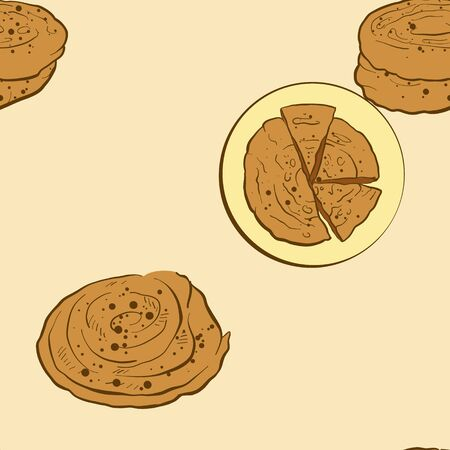 Seamless pattern of sketched Bing bread. Useable for wallpaper or any sized decoration. Handdrawn Vector Illustration Illusztráció