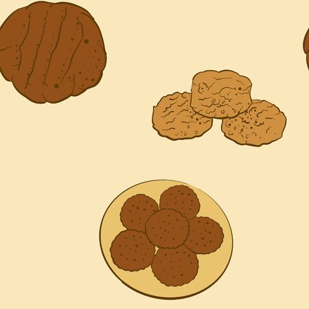 Seamless pattern of sketched Biscuit bread. Useable for wallpaper or any sized decoration. Handdrawn Vector Illustration