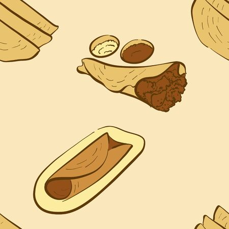 Seamless pattern of sketched Dosa bread. Useable for wallpaper or any sized decoration. Handdrawn Vector Illustration