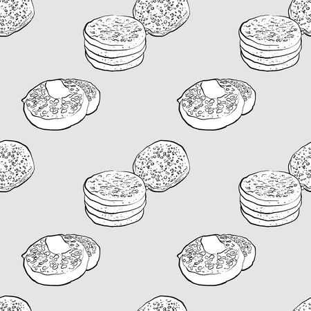 Crumpet seamless pattern greyscale drawing. Useable for wallpaper or any sized decoration. Handdrawn Vector Illustration 向量圖像