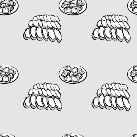 Khanom bueang seamless pattern greyscale drawing. Useable for wallpaper or any sized decoration. Handdrawn Vector Illustration