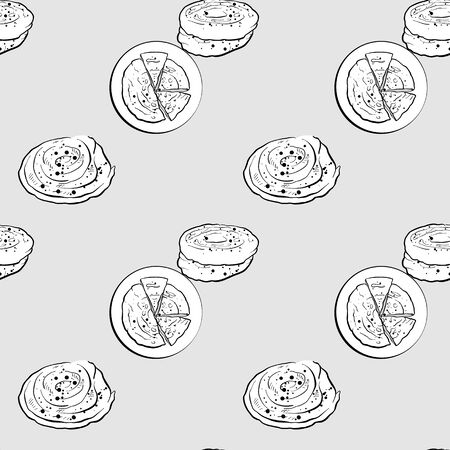 Bing seamless pattern greyscale drawing. Useable for wallpaper or any sized decoration. Handdrawn Vector Illustration Illusztráció