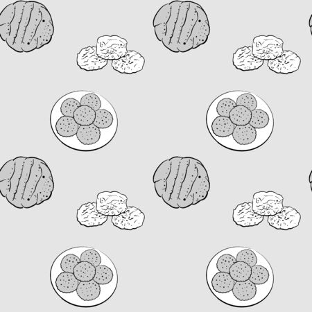Biscuit seamless pattern greyscale drawing. Useable for wallpaper or any sized decoration. Handdrawn Vector Illustration