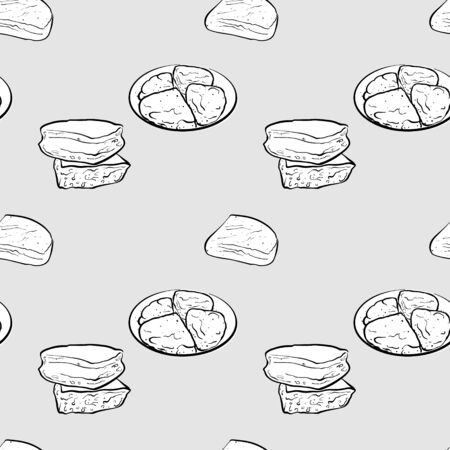 Farl seamless pattern greyscale drawing. Useable for wallpaper or any sized decoration. Handdrawn Vector Illustration Ilustração