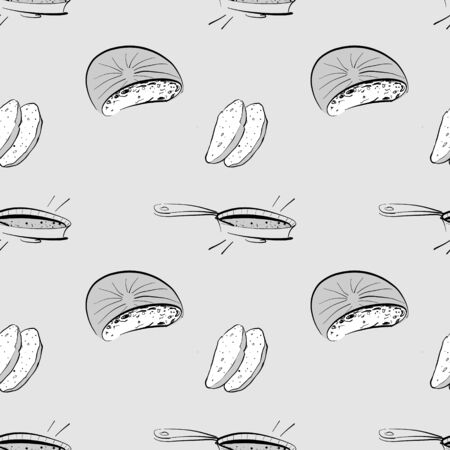 Bannock seamless pattern greyscale drawing. Useable for wallpaper or any sized decoration. Handdrawn Vector Illustration