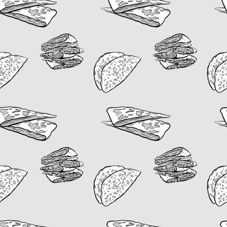Bolani seamless pattern greyscale drawing. Useable for wallpaper or any sized decoration. Handdrawn Vector Illustration