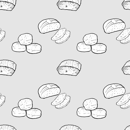 Chickpea bread seamless pattern greyscale drawing. Useable for wallpaper or any sized decoration. Handdrawn Vector Illustration