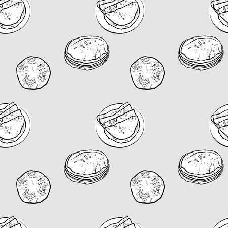 Chapati seamless pattern greyscale drawing. Useable for wallpaper or any sized decoration. Handdrawn Vector Illustration