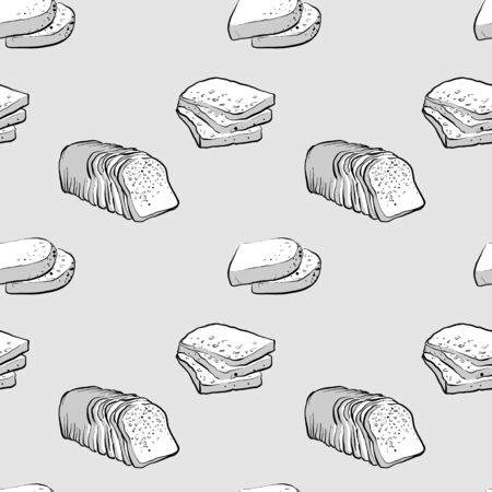 Brown bread seamless pattern greyscale drawing. Useable for wallpaper or any sized decoration. Handdrawn Vector Illustration