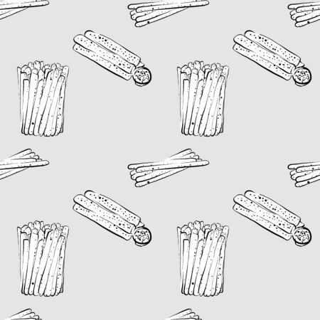 Breadstick seamless pattern greyscale drawing. Useable for wallpaper or any sized decoration. Handdrawn Vector Illustration