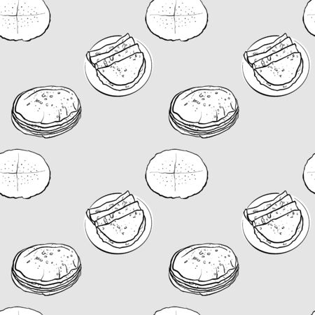 Flatbread seamless pattern greyscale drawing. Useable for wallpaper or any sized decoration. Handdrawn Vector Illustration
