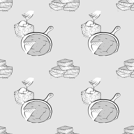 Cornbread seamless pattern greyscale drawing. Useable for wallpaper or any sized decoration. Handdrawn Vector Illustration
