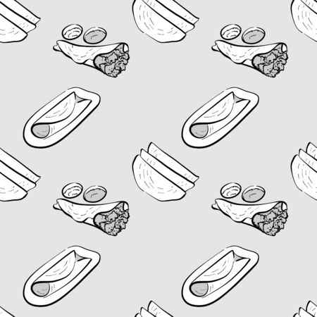 Dosa seamless pattern greyscale drawing. Useable for wallpaper or any sized decoration. Handdrawn Vector Illustration