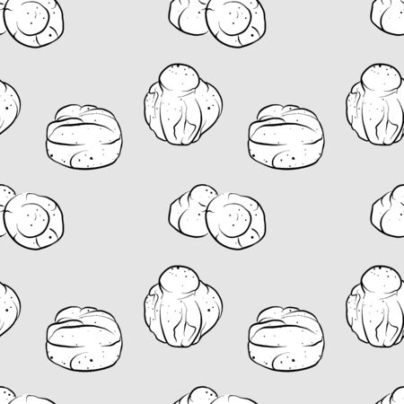 Brioche seamless pattern greyscale drawing. Useable for wallpaper or any sized decoration. Handdrawn Vector Illustration