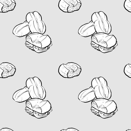 Marraqueta disegno in scala di grigi senza cuciture. Utilizzabile per carta da parati o decorazioni di qualsiasi dimensione. Illustrazione vettoriale disegnata a mano