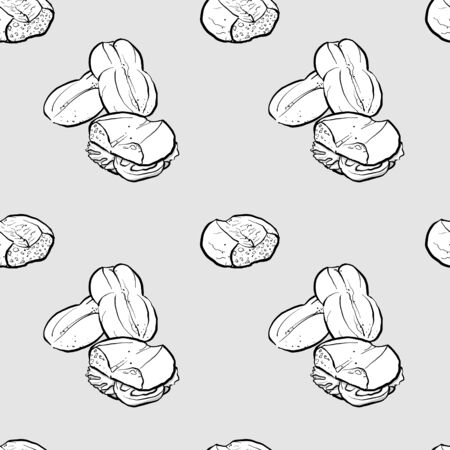 Marraqueta seamless pattern greyscale drawing. Useable for wallpaper or any sized decoration. Handdrawn Vector Illustration