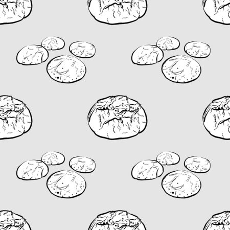 Broa seamless pattern greyscale drawing. Useable for wallpaper or any sized decoration. Handdrawn Vector Illustration Illustration
