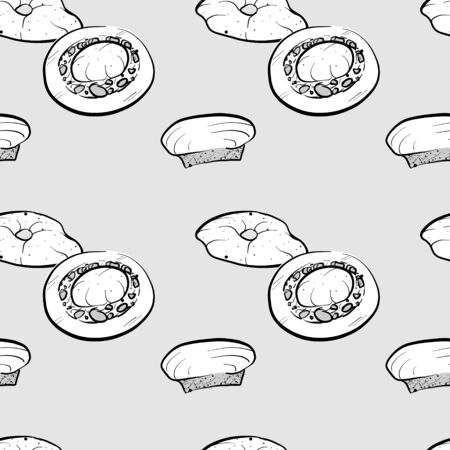 Bazin seamless pattern greyscale drawing. Useable for wallpaper or any sized decoration. Handdrawn Vector Illustration