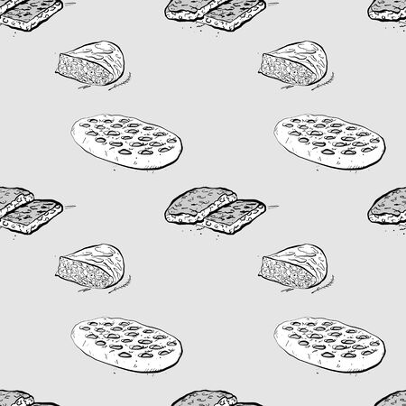 Focaccia seamless pattern greyscale drawing. Useable for wallpaper or any sized decoration. Handdrawn Vector Illustration