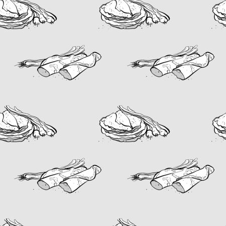 Green onion pancake seamless pattern greyscale drawing. Useable for wallpaper or any sized decoration. Handdrawn Vector Illustration